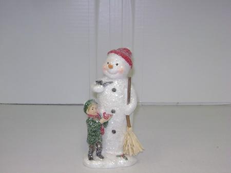 Kk 51743a Snowman Figurine With Boy Holding Bird
