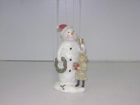 Kk 51743c Snowman Figurine Holding Wreath